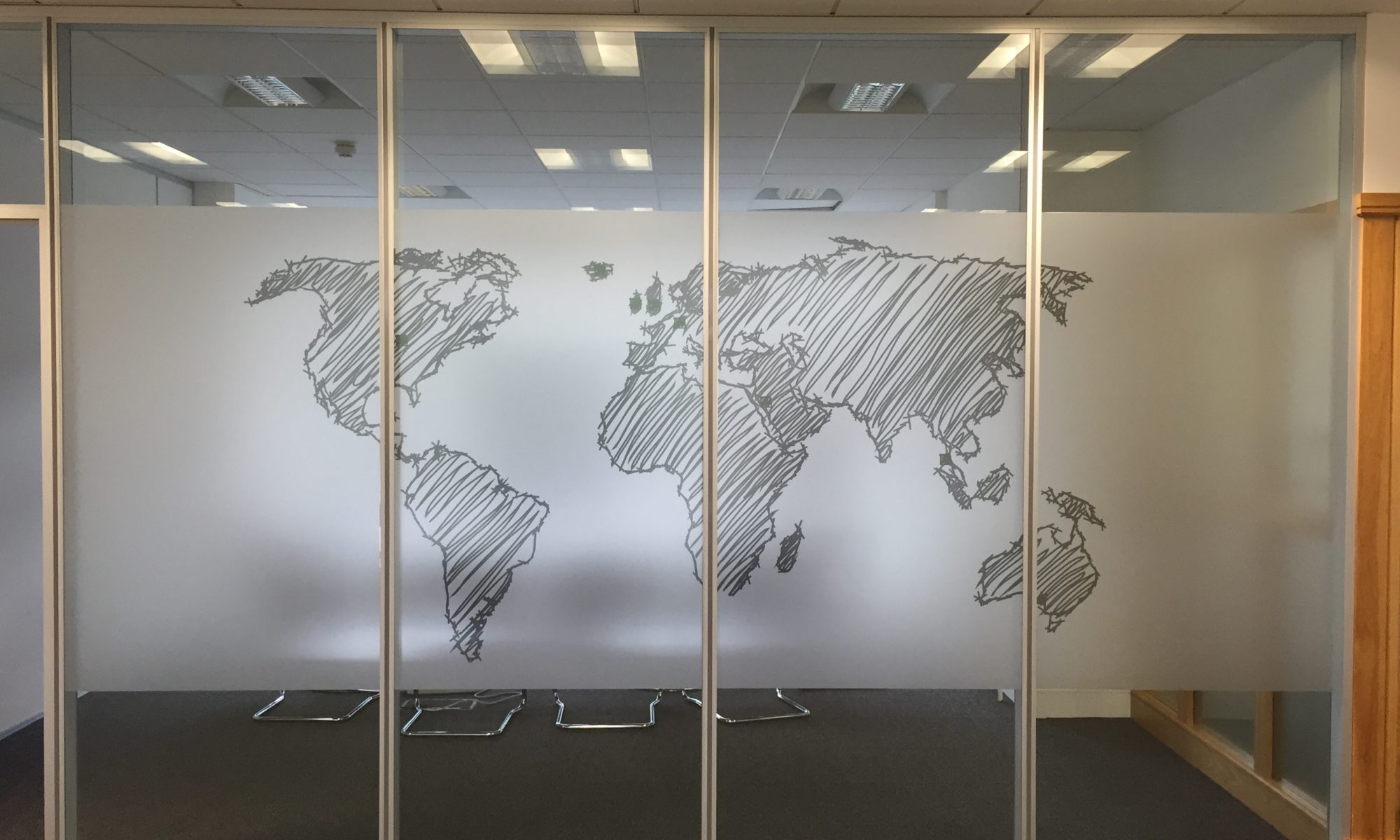 World Map etch & print on Glass