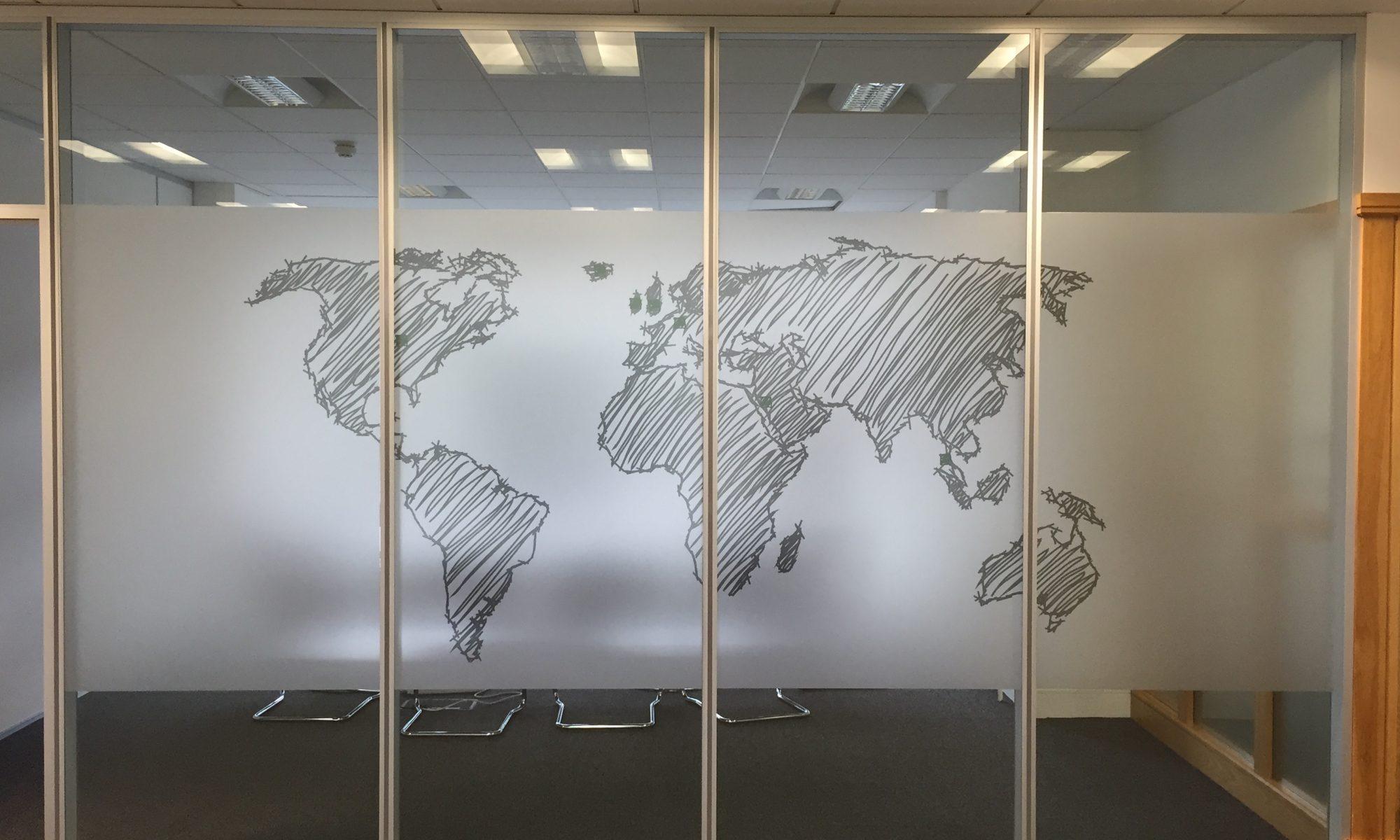 World map window etch